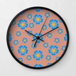Fireflies Retro Flowers Wall Clock