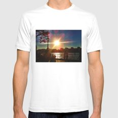 Sunset on the Bank Mens Fitted Tee MEDIUM White