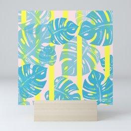 Linocut Monstera Neon Mini Art Print