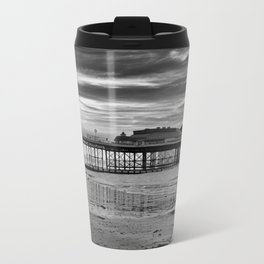 Cromer Pier in black and white Travel Mug