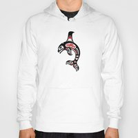 killer whale Hoodies featuring Red and Black Haida Spirit Killer Whale by Jeff Bartels