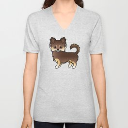 Chocolate And Tan Long Coat Chihuahua Dog Cute Cartoon Illustration Unisex V-Neck