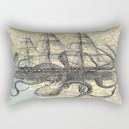 Octopus Attacks Ship on map background Rectangular Pillow