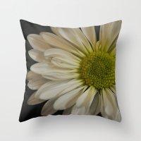 pushing daisies Throw Pillows featuring Pushing Dasies by Rachel Goodson Quinn