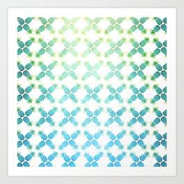 Blue Pineapples Art Print
