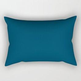 Dark Teal Blue Solid Color Rectangular Pillow