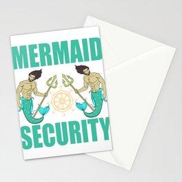 "Unique Mermaid Tee For Mermaid Lovers Saying ""Mermaid Security"" T-shirt Design Wheel Trident Swim Stationery Cards"
