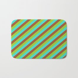 Green, Turquoise, and Sienna Colored Lines/Stripes Pattern Bath Mat