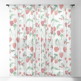 Watercolor Strawberries Sheer Curtain