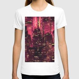 Red neon city T-shirt