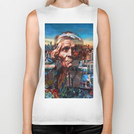 Ghost Tribe Native Americans in New York Sepia Biker Tank