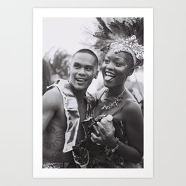 Caribana Festival Parade Costume revellers Black and white photo  Art Print