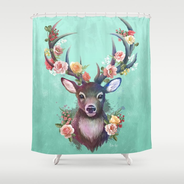 Deer Of Spring Shower Curtain