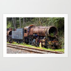 Cemetery of locomotives Art Print