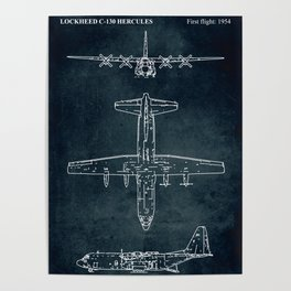 LOCKHEED C-130 HERCULES - First flight 1954 Poster