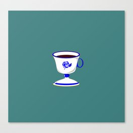 Cup of Coffee in Blue Flow Vintage China Canvas Print