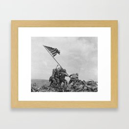 American Troops raising American flag on Mount Suribachi, Iwo Jima, 23 February 1945 Framed Art Print