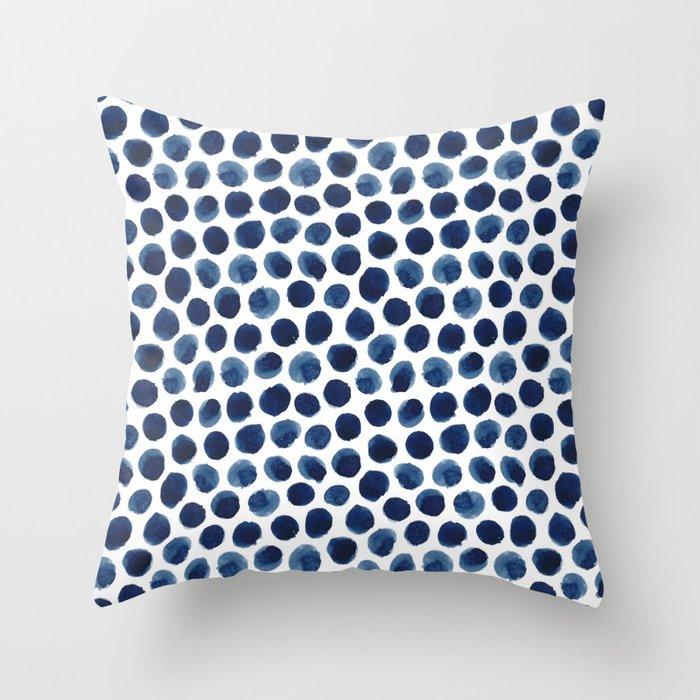 Large Indigo/Blue Watercolor Polka Dot Pattern Deko-Kissen