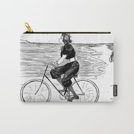 A Lovely girl is riding a bike at the beach - hand drawn retro style illustration Carry-All Pouch