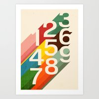 numbers Art Prints featuring Retro Numbers by Picomodi