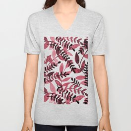 Watercolor branches - red Unisex V-Neck