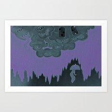 Strange Clouds. Black Rain.  Art Print