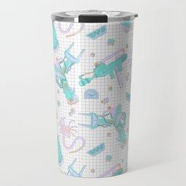 Pastel Scifi Alien Repeating Pattern Travel Mug