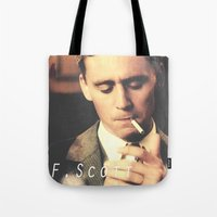 fitzgerald Tote Bags featuring F. Scott Fitzgerald by Earl of Grey