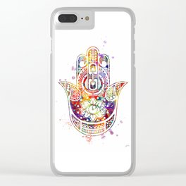 Hamsa Hand 2 Watercolor Poster Wedding Gift Clear iPhone Case