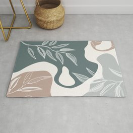 Abstract - Aqua and Beige Shapes, Lines and Leaves Rug