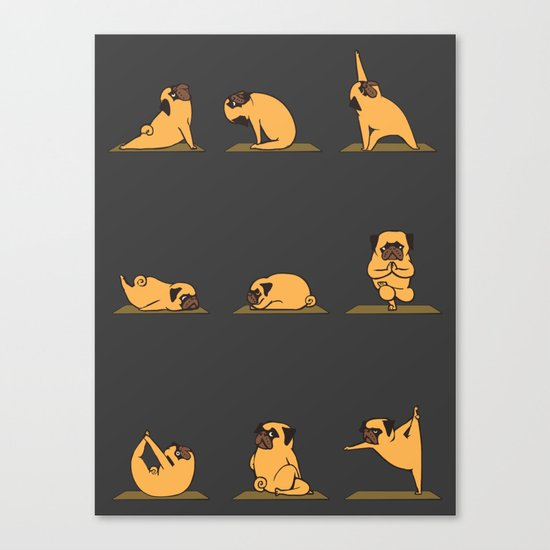 Pug Yoga // Black Canvas Print