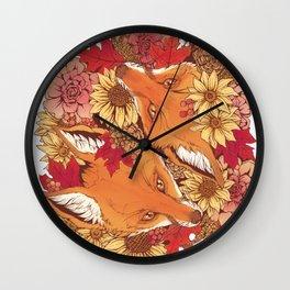 Autumn Fox Bloom Wall Clock