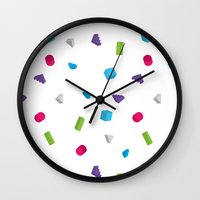 confetti Wall Clocks featuring Confetti by Eric Zelinski