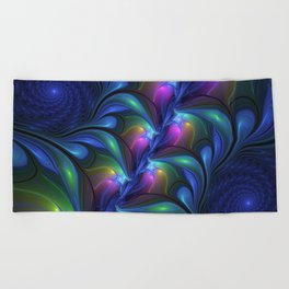 Colorful Luminous Abstract Blue Pink Green Fractal Beach Towel