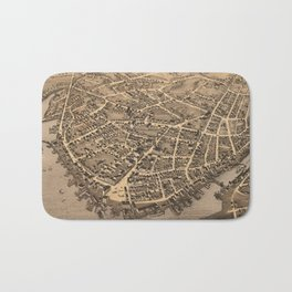 Vintage Pictorial Map of New London CT (1876) Bath Mat