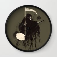 death note Wall Clocks featuring Death Note {Light Brown} by Tobe Fonseca