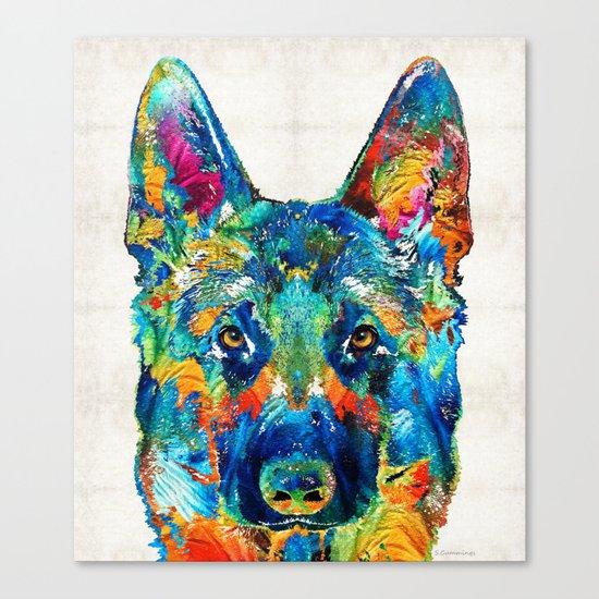 Colorful German Shepherd Dog Art By Sharon Cummings Canvas Print