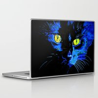 marley Laptop & iPad Skins featuring Marley The Cat Portrait With Striking Yellow Eyes by taiche