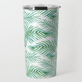 Palm Leaves_Bg White Travel Mug
