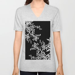 White and Black Toile Victorian Leaf Branch Unisex V-Neck