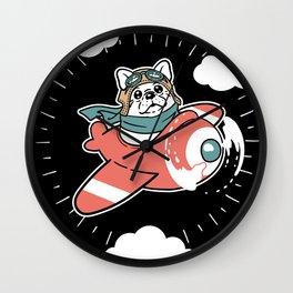 Pug Plane Wall Clock