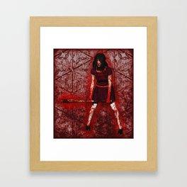 Linda - Blood-Soaked, Holding Bat Framed Art Print