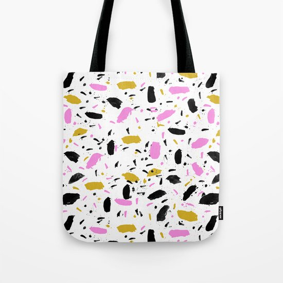 Terrazo cute pink black and white gender neutral modern abstract pattern painting painterly boho art Tote Bag