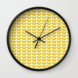 mustard chevron Wall Clock