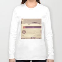 volkswagon Long Sleeve T-shirts featuring WV Combi Bus Volkswagon Vintage Car (Retro Cream an Violet Van)  by Caroline Mint