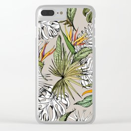 Tropical floral pattern Clear iPhone Case