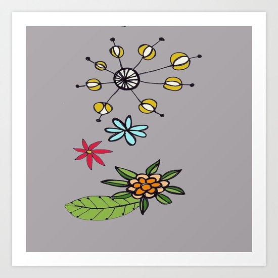 flowers on grey Art Print