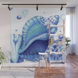 Blue Green Shells Wall Mural