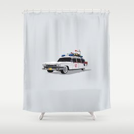 Ghostbusters Illustrated Ecto 1 Shower Curtain