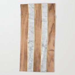 Wood Grain Stripes White Marble #497 Beach Towel